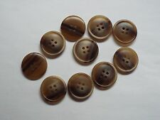 8pc 25mm Weathered Brown Mock Wood Coat Suit Cardigan Knitwear Button 4026