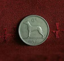 6 Pence Ireland 1949 Nickel World Coin Irish Harp Wolfhound Dog KM13a Eire six d