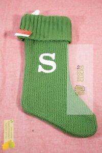 Wondershop- Knit Monogram Stocking Green, S