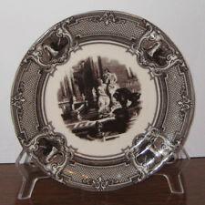 """Two's Company 7.5"""" Decorative White Dark Brown Transferware Toile Plate 2 Women"""