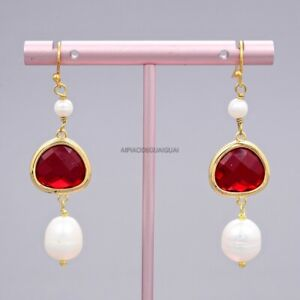 Natural White Rice Pearl Colorful Red Crystal Gold Plated Hook Earrings Cute