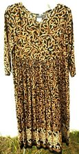 VTG MOLLY MALLOY 90S S M P SCROLL PRINT LOOSE FIT FLORAL BOHO rayon DRESS WOMEN