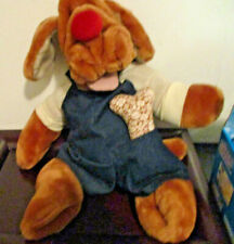 "Ganz Vintage Wrinkles Dog Hand Puppet Stuffed Plush 17"" W/ #'s Tag & bone 1981"