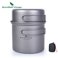 Titanium Pot Set 1000ml + 500ml Outdoor Camping Picnic Bowl Ultralight Cookware