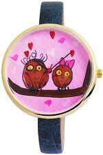 Damen-Armbanduhr Lila Blau Gold Eulen Liebe Herzen Analog D-100000300013500