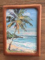 "Joyce Clark- Original 5""X 7"" Oil Painting on Board (Palm Tree)"