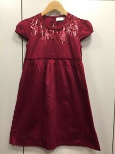 bordeaux Kleid von Creamie, Gr. 152, mit Pailletten und Biesen