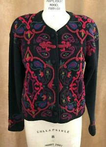 Small L.N.I. Ramie black cardigan Embroidered Sweater button up vintage Sz 1