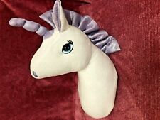 Hanging Unicorn Head Plush White & Purple Wall Mount Soft Toy 15""