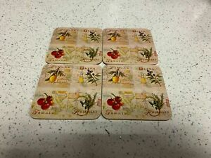 Laminated Fruit Herb Coasters Square Cork Backed Table Cup Dining Kitchen Mat
