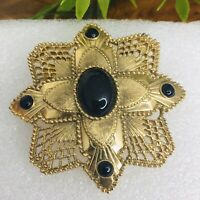 HUGE Vintage Maltese Cross Faux Black Onyx Brushed Gold Filigree Brooch Pin