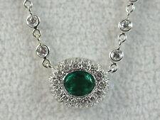 "18K Emerald Diamond Necklace Crivelli White Gold 17"" Link Fine Jewelry CRIVELLI"
