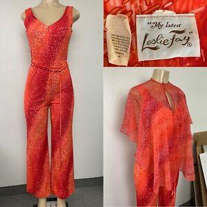 Vintage LESLIE FAY Zip Up Disco Jumpsuit with Sheer Top & Belt, Red & Orange
