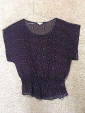 American eagle womens M black purple floral sheer batwing sleeve top shirt