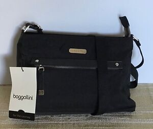 "NWT~BAGGALLINI BLACK ""ALL AROUND CROSSBODY"" BAG WATERPROOF NYLON"
