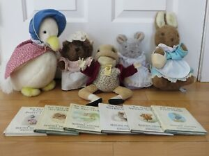 Vintage Eden - Beatrix Potter Lot - 5 Plush Toys - 6 Books