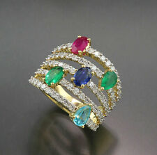 Smaragd Rubin Saphir Apatit Brillant Ring  3,70 carat 750 Gold Wert 8.230 Euro