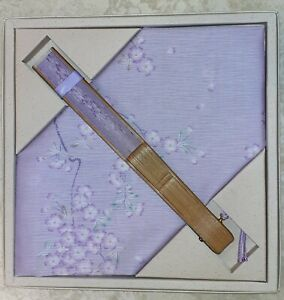 lilac handkerchief & matching folding fan in spring blossom pattern - boxed