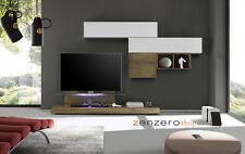 Parete attrezzata moderna di design, rovere miele e bianco lucido - 249x190 cm