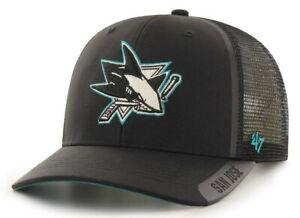 SAN JOSE SHARKS NHL BLACK TRUCKER MVP DP SNAPBACK HAT CAP NEW! 47 BRAND CLEAN