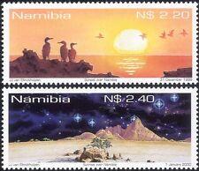 NAMIBIE 1999 Millennium/Lever/Coucher du Soleil/oiseaux/Arbres/soleil/stars/nature 2 V Set s1379