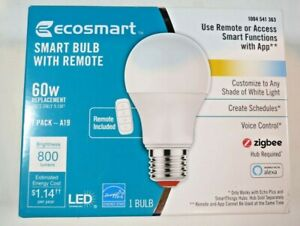 EcoSmart 60-Watt Smart Bulb with Remote Zigbee Echo Plus SmartThings