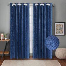 Embossed Self Design Curtains Long Door 9 feet- Pack of 2 Blue