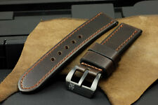 24mm Metallic Dark Brown Cow Leather Strap Band + Buckle for 44mm Panerai Watch