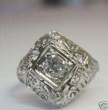Antique Art Deco Vintage Diamond Engagement 18K White Gold Ring Sz 5.75 EGL USA