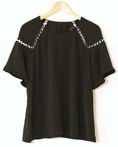 Stitch Fix Goldray Womens Top Blouse Shirt Black XL Woodland Embellishment NWT