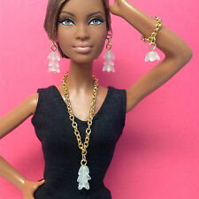 S805 Silkstone Barbie Fashion Royalty Doll Jewelry gold & frosted white