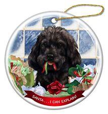 Black Cockapoo Dog Porcelain Hanging Ornament Pet Gift Santa I Can Explain!