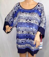 Ruby Rd. Women Size XL Navy Blue White Silver Tunic Top Blouse Shirt Sweater