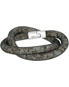 Swarovski Nylon And Rhodium Plated Black Crystal Bracelet 5136303 MSRP $89