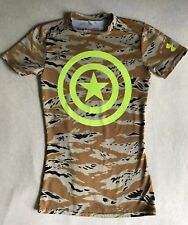 Boy's Under Armour UA Captain America Camo Fitted Shirt Top Size SM Youth