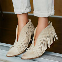 Vogue Womens Tassel Suede Pointed Toes High Block Heel Slip On Shoes Ankle Boots