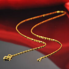 Fine Pure 999 24k Yellow Gold Women Lucky Full Star Chain Necklaces/16inch /2.6g