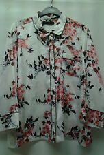 UK 20 EUR 48 LADIES FLORAL SILKY STYLED BLOUSE FLORAL M&S COLLECTION B.N.W.T.
