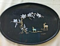 Chinese Asian Black Oval Large Lacquer Lacquerware Tray brass  Silver Inlay Deer