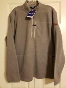 Huk Channel 1/4 Zip Mock Neck Pullover Fleece Grey Men's Medium NWT