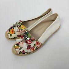Ladies Bellucci Beige Suede Beautiful Multi Floral Print Loafer Shoes UK 7 EU 40