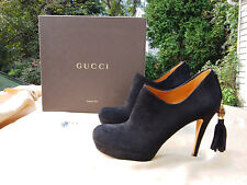 GUCCI SHOE BOOTS  Black Suede Leather Booties with Bamboo Tassel   Size 37