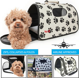 Airline Approved Paw Printed Folding Zippered Sporty Cage Pet Dog Carrier Bag