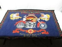 Vintage HARLEY DAVIDSON Harley & Good Whiskey Wall Hanging Tapestry 51X34.5 RARE