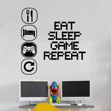 EAT Sleep Play Wall Sticker Murale in Vinile Decalcomania Bambini Camera i giocatori ART adolescente