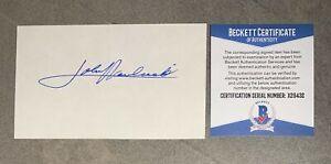 John Havlicek Signed 3x5 Index Card Cut Beckett BAS COA Boston Celtics HOF Auto