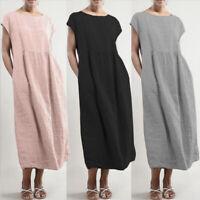 Womens Summer Short Sleeve Baggy Cotton Linen Kaftan Midi Shift Dress Plus Size
