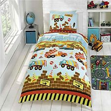 UNDER CONSTRUCTION JUNIOR TODDLER DUVET COVER SET DIGGERS BUILDERS NEW