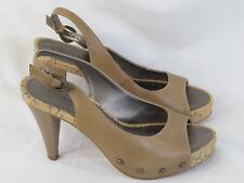 Tahari Lumina Light Brown Leather Open Toe Slingback Heels Size 7.5 M US EUC