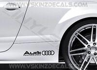 2x Audi Performance Logo Premium Cast Skirt Decals Stickers TT RS S-line Quattro